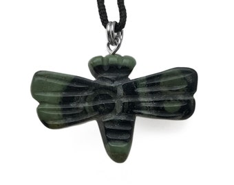 Dragonfly Picture Kambaba Gemstone Pendant Hand Carved Stone Necklace