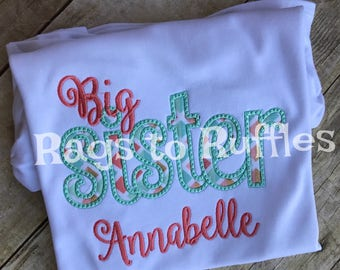 Big Sister Personalized Shirt - Monogrammed Big Sis Shirt- custom Big Sister Shirt