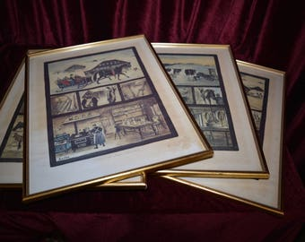 4 Framed French Prints of The Four Seasons of Farming Vintage