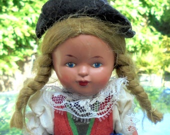 """Vintage Celluloid Country Doll Travel Souvenir - Austrian National Costume - Made in Germany 16.5cm / 6 1/2""""Tall"""