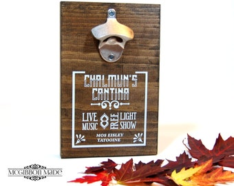 Chalmun's Cantina wood bottle opener - geeky / sci-fi / fantasy / comic / comic-con home decor and bar accessories