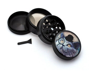 Herb Grinder - Black Aluminum Alloy Gentleman Kitty Picture Grinder
