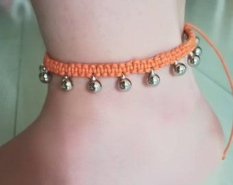 Ankle strap with balls-orange
