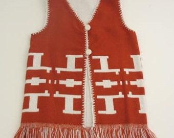 reversible vintage hippie Guatemalan orange knit vest with fringe vintage vest vintage kids top