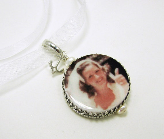 Wedding Memory Photo Charm with an Sterling Anchor Charm for your Bridal Bouquet