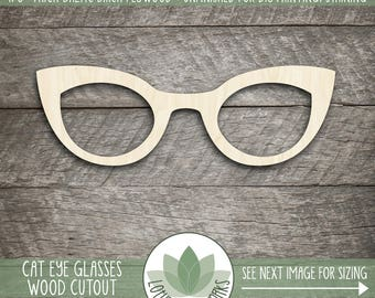 Cat Eye Glasses Wood Cut Shape, Unfinished Wood Eye Glasses Laser Cut Shape, DIY Craft Supply, Many Size Options, Blank Wood Shapes