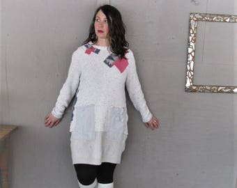 upcycled tunic wearable art clothing L X Large recycled sweater dress repurposed shirt sustainable cotton reclaimed dress LillieNoraDryGoods