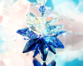 Swarovski Crystal Suncatcher for Car, Blue Rear View Mirror Charm, Car Accessories, Car Mirror Charm, Gifts for Her