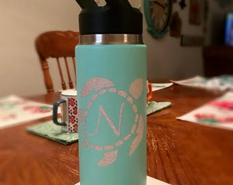 Sea Turtle with Monogram Decal