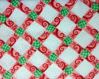 Red Lattice 100% cotton fabric, sold by the yard  #405