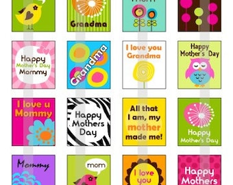 Happy Mothers Day 2 - one 4x6 inch digital sheet of scrabble size (0.75 x 0.83 inches) images for scrabble tiles