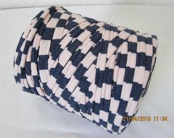Grand rouleau 800g trapilho imprimé rose et bleu, trapilho rayures, gros fil coton pour faire du crochet, tricot, tissages, macramé