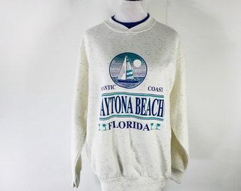 Vintage 90s Daytona Beach Sweatshirt Tourist Spring Break Size Large USA Made