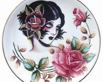 "Rose, Vintage Tattoo Flash Portrait Platte 10,9"""