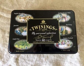 """Rare VINTAGE metal  Twinings of London """"My personal Selection"""" tea tin. VINTAGE ADVERTISING. Made in England."""