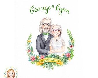 Custom Wedding Couple or Family Portrait Service / Anniversary Personalised Gift- Handmade Watercolor Illustration