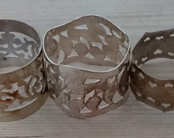 Lot of three vintage napkin rings