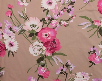 Floral on Taupe DBP Knit Fabric