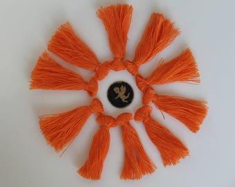 10 tassels - jewelry - 40 mm Tangerine orange tassel charm