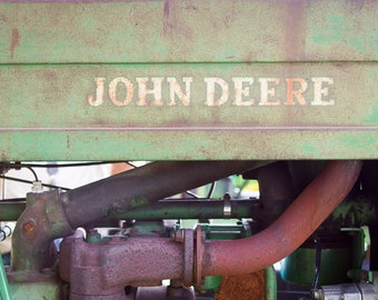 John Deere Tractor Photography, Rustic Vintage Tractor Country Farmhouse Farm Kids Boys Astract Fine Art Print Wall Art