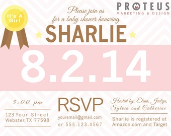 Marathon Theme Baby Shower Invitation, Baby Shower Invite, Custom Digital Invitation