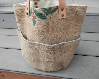 Burlap Coffee  Bean  Bucket Bag