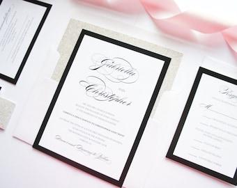 Calligraphy Wedding Invitation, Black and White Wedding Invitations, Black Wedding Invitation, Script - Deposit
