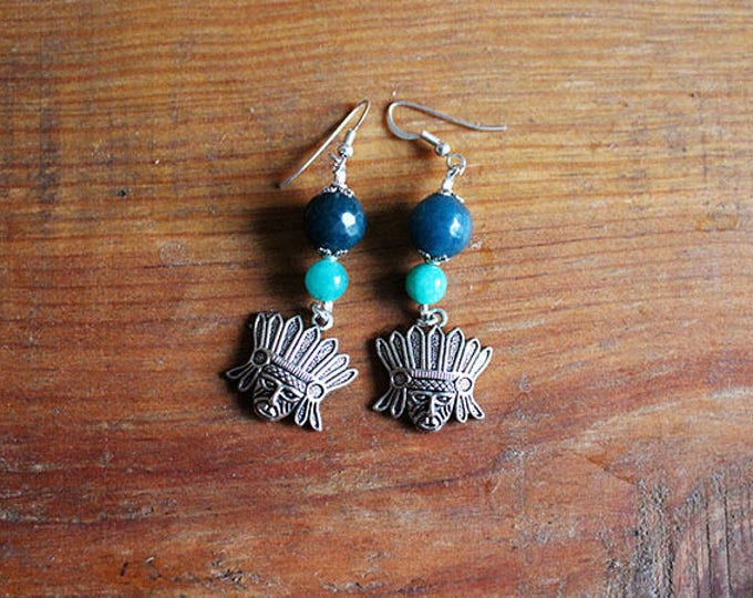 Earrings dangling Iroquois Indian head, green and blue agate beads turquoise, silver frame, gift for her, boho chic