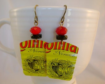 Cut the Mustard - Colman's Mustard Tin Vintage Beads Recycled Repurposed Jewelry Earrings - Ten Year Anniversary Gift