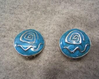 On Sale! Free Shipping*! Vintage, CLIP ON EARRINGS, Clip Earring, Clip Ears, Indian Jewelry, Retro, Boho Earrings, Silver, Blue, #60309-1