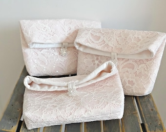 SET OF 3 Bridesmaids Clutches, Vintage Inspired Fold Over Bridal Clutch, Three Lace Purses, Any Color