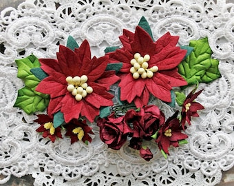 Reneabouquets Christmas Flower Set -Burgundy Poinsettias ,Curly Roses And Holly Leaves  Mulberry Paper Flowers - 14 Pieces In Organza Bag