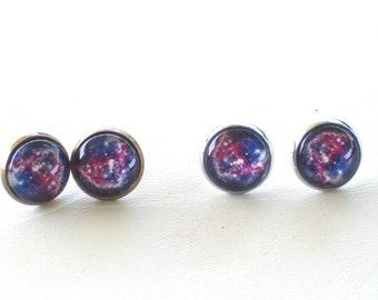 Nebula Earrings, Galaxy Earrings, Nebula Stud Earrings, Galaxy Jewelry, Celestial Jewelry, Outer Space Earrings, Silver or Brass Studs