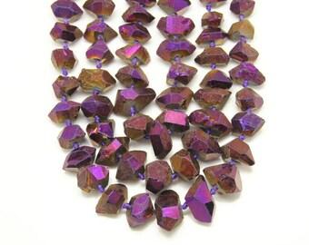 Mystic Titanium Purple Crystal Quartz Nugget Points Loose Beaded Pendant Necklace Jewelry