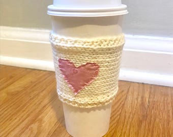 VALENTINES DAY COZY: knitted coffee cozy with pink pattern heart