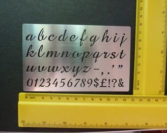 Stainless Steel Stencil Oblong Lower Case Alphabet Emboss Small