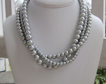 Chunky Silver Pearl Necklace, Statement Necklace, Silver Pearls, Statement Pearl Necklace, Silver Pearl Jewelry Silver Bridesmaids Necklace