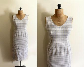 vintage dress 90's minimalist plaid beige tan sleeveless shift 1990s womens clothing