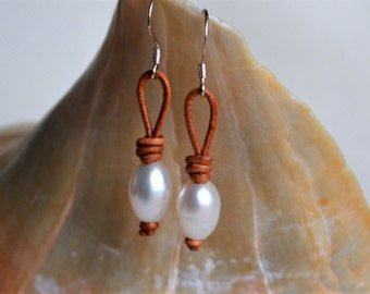 Rice Pearls on Leather Earrings Knotted Pearls On Leather Cord Dangling Earrings White Pearls Boho Bohemian Holiday Gift for Her Yevga