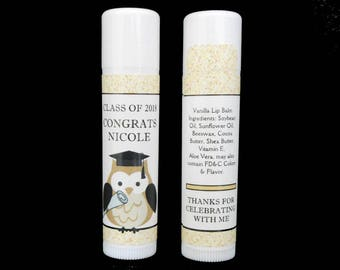 Graduation Lip Balm - Graduation Favors - Lip Balm Favors - Personalized - Lip Balm - Vanilla Lip Balm - Owl