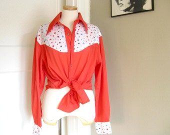 Vintage Red White and Blue Stars Pearl Snap Cowboy Shirt, Patriotic, Country, American