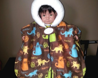 Infant Car Seat Poncho (Meow Kitties) - Size Medium