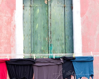 clothes line photography, hanging laundry photography, fine art print, pastel pink, closed green window shutters, photos of italy