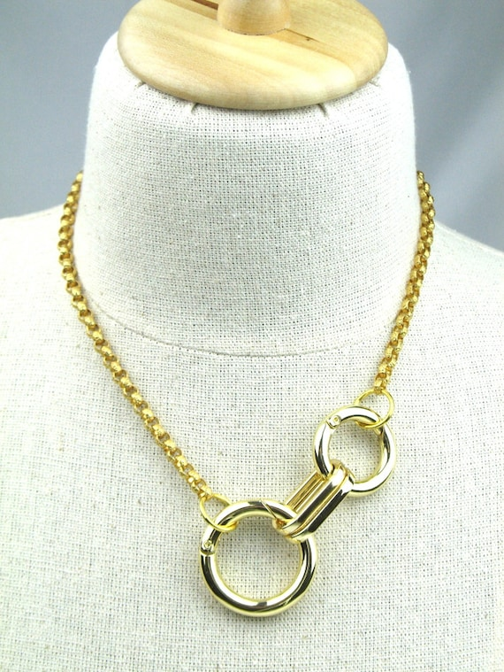 Gold Chain Necklace with Chunky Gold Rings and Solid Italian Textured Brass