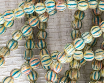 4mm Ivory Picasso Czech Glass Melon Beads, 50 Beads, Ivory Picasso with Turquoise Wash Melon Round Beads, 4898