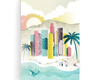 Los Angeles Wall Art Canvas Print, Skyline Cityscape Illustration, Hollywood Santa Monica, Home, Office and Nursery decor, Gift for LACWA01