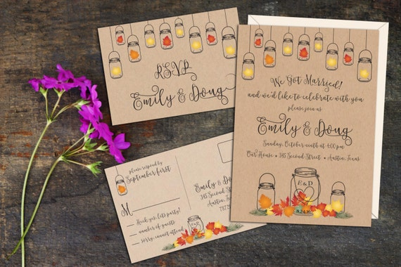 Fall Leaves Rustic Mason Jar Elopement Reception Invitation, Fall Wedding Reception Invitation,Event Invitation, Party Invitation, Digital