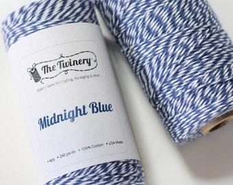 Navy Blue & White Twine, Bakers Twine, 240 yards / 219 m, 1 Spool