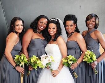 Charcoal Gray Convertible Bridesmaid Dress
