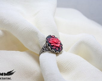 Victorian Cameo Ring - Adjustable Ring with Cameo - Flower Ring - Victorian Jewelry